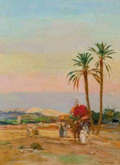 Algérie - Peintre Français Émile BOIVIN (1846-1920), Huile sur toile, Titre: Départ de la Caravane