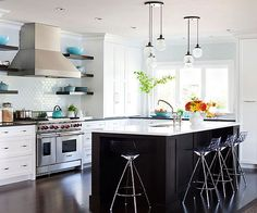 Recessed, or can, lights that provide ambient lighting for the room should be 24-42 inches apart and should work to light the entire room -- not just areas without task lights.