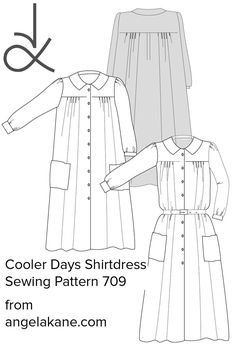 PDF Sewing Pattern - ready to download. The 2nd design in my shirtdress series. Check out my site. Pdf Sewing Patterns, Dressmaking, Shirt Dress, Check, Design, Sew Dress, Shirtdress, Sew