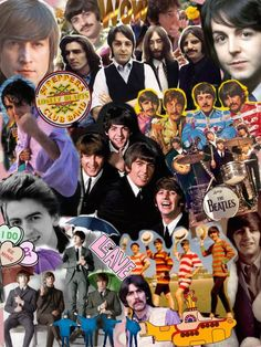 A Beatles collage of many Photos. Beatles Love, Les Beatles, Beatles Art, John Lennon Beatles, Beatles Photos, Beatles Poster, Great Bands, Cool Bands, Rock Y Metal