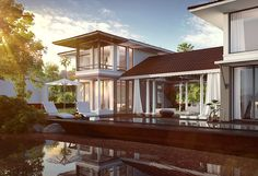 Boutique Villas with a private pool located near a river by Sun Estates Developers.