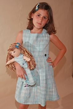 Dolly and Me Blue Dress with Black Buttons