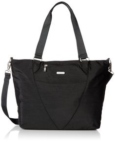 Baggallini Avenue Travel Tote, Black, One Size. Shoulder tote bag featuring padded technology compartment that accommodates a 15.5-inch laptop and back zip pocket that converts to a suitcase handle sleeve. Removable adjustable cross-body strap. Internal organizational pockets and credit card slots. Pockets: 5 interior slip, 1 interior zip, 6 exterior.