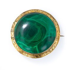 Large Antique Malachite Brooch - 50-1-4102 - Lang Antiques
