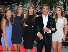 8/4/14.    A proud moment! Actor Sylvester Stallone is joined by his three daughters and wife at the world premiere of The Expendables 3 in London on Monday