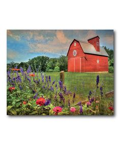 Look what I found on #zulily! Wild Flowers with Red Barn Gallery-Wrapped Canvas #zulilyfinds