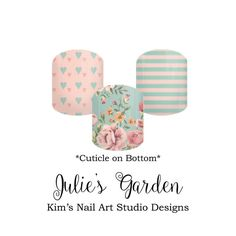 """Julie's Garden:  If you want to get these beauties of your fingers and toes, head on over to my Jamberry Nail Art Studio Marketplace!  Simply click on the image above and it will direct you right to the listing!  To see more of my designs and some special sales, join my Facebook group """"Kim's Nail Art Studio Designs"""" at www.facebook.com/groups/925106354278688 Thanks for the interest in my designs!"""