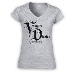 Camiseta chica Logo The Vampire Diaries Love Sucks Camiseta para chica con la imagen del logo de la serie de Tv The Vampire Diaries.