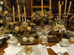 mesa decorada de natal em dourado - Pesquisa Google