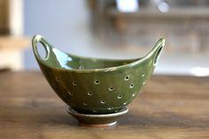 Pottery Berry Bowl - Handmade Ceramic Colander with Handle - Green. $40.00, via Etsy.