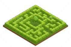 Garden Labyrinth Isometric Composition - Flowers & Plants Nature