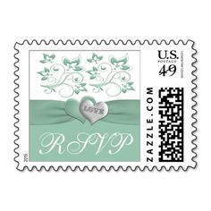 Mint, White Floral Hearts Wedding RSVP Postage