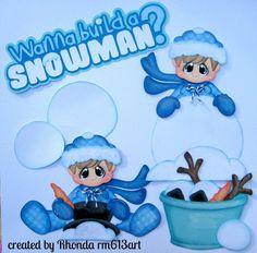 Winter play snow Boy paper piecing set premade scrapbook pages Rhonda rm613art