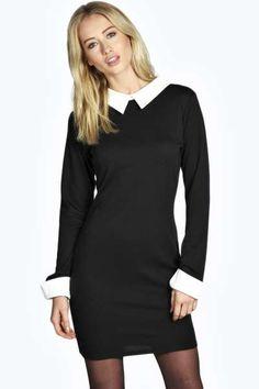 Cheryl Long Sleeve Collar Bodycon Dress at boohoo.com