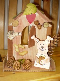 Podzimní domek s veverkou Animal Crafts For Kids, Diy For Kids, Fall Crafts, Arts And Crafts, 16 October, Autumn Art, Squirrel, Fall Decor, Kindergarten