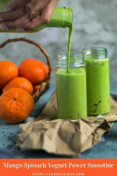 Need something to wake you up? Try my Mango Spinach Yogurt Power Smoothie for breakfast today! It's fresh, healthy & can keep you full till about lunch! #breakfast #recipe #green #smoothie #morning #protein #healthy #fitness #mango #spinach #greekyogurt #dairy #drinks #fruit#superfoods #postworkout #cleanses Spinach Smoothie Recipes, Yogurt Smoothies, Green Smoothies, Vegetable Smoothies, Oatmeal Smoothies, Healthy Smoothies, Healthy Drinks, Salad Recipes, Green Breakfast Smoothie