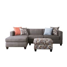 Roma Small Space Reversible 3-piece Sectional Sofa with Floral Print Ottoman