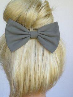 Hair Bow Clip - Grey