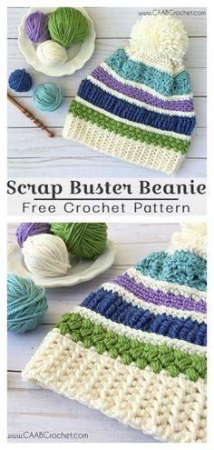 crochet hat patterns This Scrap Buster Sampler Hat Free Crochet Pattern is a great way to use up your yarn scraps. The hat has a wonderful pompom that adds sweetness and charm. Crochet Beanie Pattern, Crochet Cap, Filet Crochet, Doilies Crochet, Sewing Patterns Free, Knitting Patterns, Crochet Patterns, Beanie Diy, Crochet Crafts