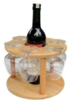 Wine bottle and glass holder