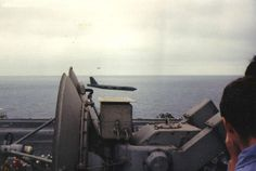 Here's another shot of that insane low altitude BUFF flyby, taken from the deck of USS Ranger