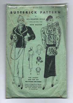 Butterick 5402 | ca. 1934 Fur Jacket and Fur set (muff, collar & cuffs)