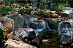 Water Features by Aquatic Creations in Georgia  This can be built in MN too with our natural granite boulders.   I like the old log in the falls.  www.idl-inc.com