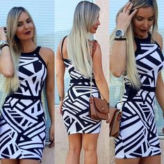 Vestido Curto Estampa Geométrica http://www.lookstore.com.br/vestido-curto-estampa-geometrica--