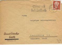Gorlitz 05-03-1953 Poststempel 'Nimm ein Postscheckkonto' Eduard Schultze