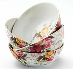 Royal Albert Country Rose Chintz All-Purpose Bowls, Set of 4 Rose Cottage, Cottage Style, Rose Bowl, China Patterns, Royal Albert, Fine China, Bowl Set, Country Rose, Dinnerware