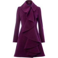 Pied A Terre Purple Ruffle Front Coat   Fashion ❤ liked on Polyvore featuring outerwear, coats, jackets, dresses, pied a terre, ruffle front coat and purple coat