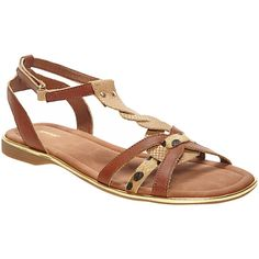 7ca394d736bb6 Avenue Leo Mixed Media T-strap Sandal ( 9.88) ❤ liked on Polyvore featuring