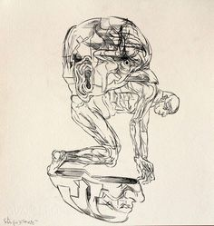 OSCAR DE LAS FLORES, SIN TITULO ( HOMBRE DESNUDO DENTRO DE UNA CABEZA ), 37.5X 35.7 cm, Tinta china sobre papel de algodon, 2014