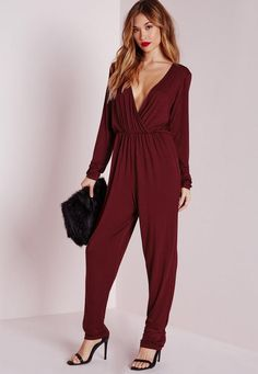 b33f4e737be This burgundy jersey gathered waist jumpsuit is the perfect staple to have  in your wardrobe. With long sleeves