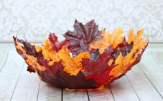Learn how to make your own decorative DIY leaf bowl with this step by step tutorial. It's simple to make and is such a fun decor piece for fall!