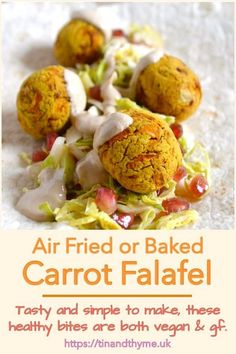 Carrot Falafel. Tasty and simple to make, these air fryer falafel contain carrots for extra nutrition. They're an inclusive meal as they're both vegan and gluten free. Serve with tahini sauce, salad and flat bread for a delicious lunch or supper. You can bake or deep fry them if you prefer. #TinandThyme #CarrotFalafel #AirFryerRecipe #FalafelRecipe #CarrotRecipe #VeganRecipe Vegan Entree Recipes, Delicious Vegan Recipes, Cooking Recipes, Tasty, Carrot Recipes, Whole Food Recipes, Vegan Hummus Wrap, Air Fried Food, Falafel Recipe