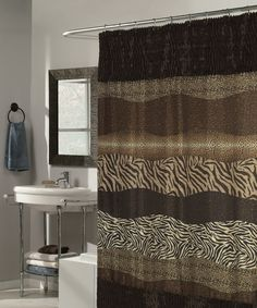 Felina Faux Fur Trimmed Shower Curtain