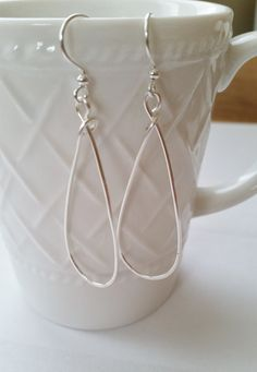 Hammered Textured Silver Teardrop Earrings  Wire by Studio4150