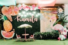 Kamila's Tropical Pink Flamingo Celebration - Baby and Breakfast - Birthday Party 1st Birthday Party For Girls, First Birthday Decorations, Girl Birthday Themes, Baby Girl Shower Themes, Birthday Backdrop, Table Decorations, 60th Birthday Party Invitations, Outdoor Birthday, Flamingo Birthday