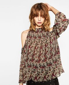 FINELY PLEATED AND PRINTED CUT-OUT BLOUSE-NEW IN-WOMAN | ZARA United States