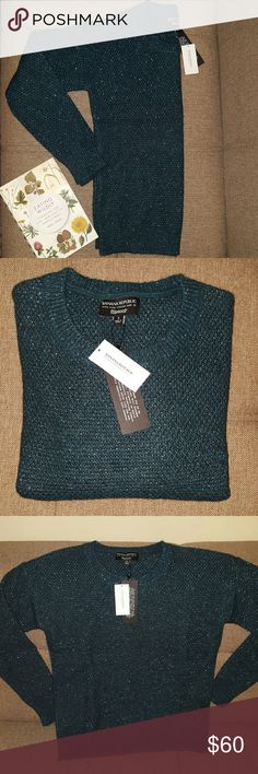 Banana Republic Wool Blend Crew Neck Sweater Beautiful Sweater for the Holiday Season. Fine Italian Yarn By Filpucci. Color: Dark Teal with Silver. 34% Wool, 31% Acrylic, 20% Metallic, 15% Nylon. New With Tag. Banana Republic Sweaters Crew & Scoop Necks
