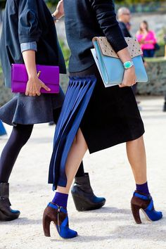 Don't care for the tail on the skirt, but love the shoes - surprising combo of brown & cobalt!