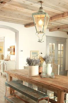 8 French Country Kitchen Decorating Ideas With Blues & Greens {Decor de Provence} - Hello Lovely - French Country decor in dining room with rustic farm table, aqua, lavender and Provence accents - French Country Dining Room, French Country Kitchens, French Country Bedrooms, French Country Farmhouse, French Cottage, Modern Farmhouse, Farmhouse Style, Country Kitchen Tables, Country Bathrooms