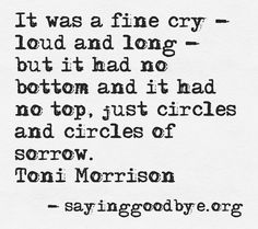 It was a fine cry- loud and long- but it had no bottom and it had no top, just circles and circles of sorrow. Toni Morrison