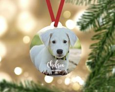Personalized First christmas puppy ornament. Made from durable wood that wont crack or peel.  Each ornament comes ready to hang with a red ribbon hanger. FREE SHIPPING  ------------------------------- ORDER PROCESS -------------------------------  1. Select quantity 2. ADD YOUR PERSONALIZATION 3. Picture Ornaments, Wood Ornaments, Christmas Puppy, First Christmas, Puppy Pictures, Red Ribbon, Puppies, Prints, Dog Photos