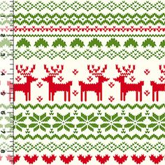 Red Green FairIsle Reindeer Pattern on Ivory Cotton Jersey Blend Knit Fabric