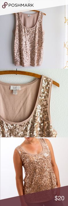 Ann Taylor LOFT   Sequin Tank Top Ann Taylor LOFT   Sequin Tank   Large, Blush, taupe, nude color. Perfect condition, SO cute. Easily dress up or down. Cotton. Hand wash. LOFT Tops Tank Tops