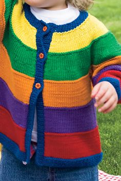 Playtime Colors Sweater - Knitting Patterns and Crochet Patterns from KnitPicks. Kids Knitting Patterns, Baby Cardigan Knitting Pattern, Knitting For Kids, Crochet Patterns, Girls Sweaters, Baby Sweaters, Rainbow Cardigan, Kids Dress Wear, Crochet Baby
