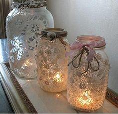 Klistra fast spets på burkar eller dricksglas - ljuslyktor