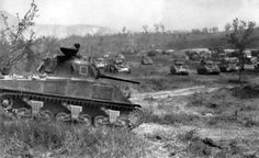 The Sherman tanks of the 6th British armoured Division concentrated to attack the Gustav line, near Casino, in May 15, 1944.